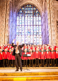 Combined Welsh Male Voices led by Haydn James